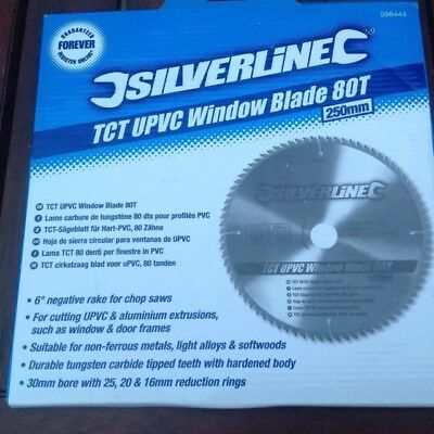 Radial Arm Saw Blade TCT UPVC Window Blade 80T - 250 x 30 - 25, 20, 16mm rings
