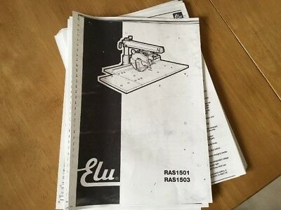 ELU Radial Arm Saw 1501/1503 Users Manual 34 Pages Free Postage