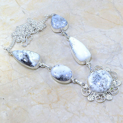 "Handmade Dendritic Tree Natural Agate 925 Sterling Silver Necklace 18.75"" Y10620"