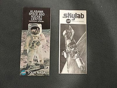Vtg 21.3mS Nasa Alabama Space & Rocket Centro Huntsville & Skylab Folleto