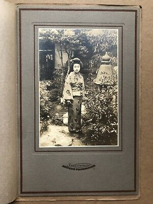 RARE Antique 1910 Japan Old Photo Portrait Japanese Geisha Girl Classical Garden