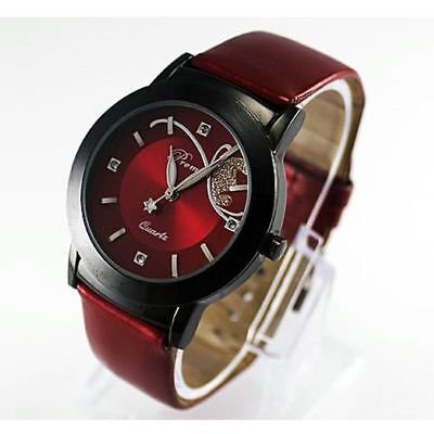 Women's Ladies Girls Butterfly Fashion Leather Dress Analog Quartz Wrist Watch