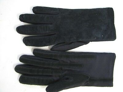 ARIS Vintage BLACK SUEDE LEATHER & STRETCH KNIT Driving Gloves WARM LINER One Sz