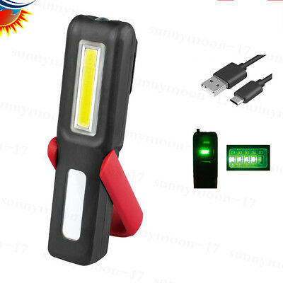USB COB LED Magnetic Work Light Car Garage Mechanic Home Rechargeable Torch Lamp