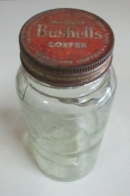 Vintage Bushells - Instant Coffee Jar and Lid - Glass Flaws and Damage