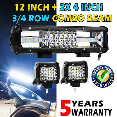 CREE LED Light Bar12inch + 4inch SPOT FLOOD Offroad 4x4 Driving Work Bars 12V AU
