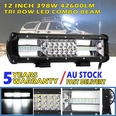 12inch CREE LED Light Bar SPOT FLOOD Offroad 4x4 Driving Work Bars 12V Tri Rows