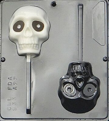 Large Skull Lollipop Chocolate Candy Mold Halloween 933 NEW