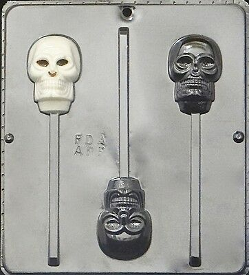 Skull Lollipop Chocolate Candy Mold Halloween 960 NEW