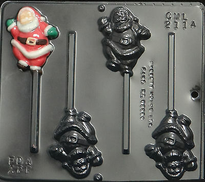 Full Santa Lollipop Chocolate Candy Mold Christmas 2114 NEW