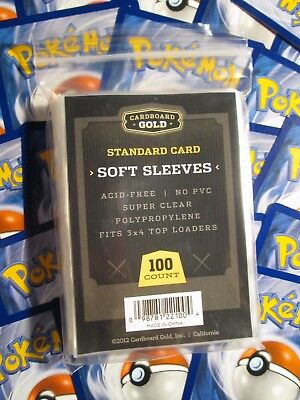 100 Soft / Penny Clear Manches Rangement/Protection/PLASTIQUE Carte or 4 Pokemon