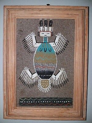 Indian sandpainting water creature 1997 7.5x10.5