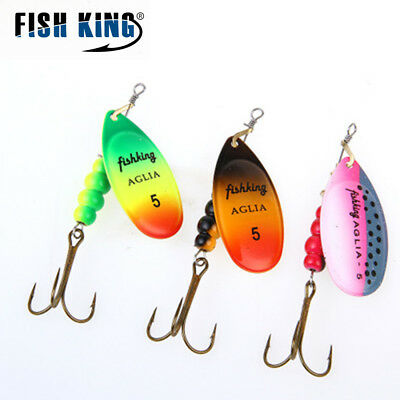 Spinner Bait 0#-5# 3 Color With Mustad Treble Hooks 35647-BR Bait Fishing Lure