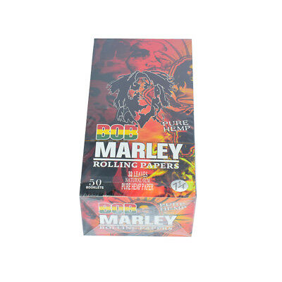 50 Pack/Box BOB MARLEY 78MM Natural Organic Cigarette Rolling Papers 11/4