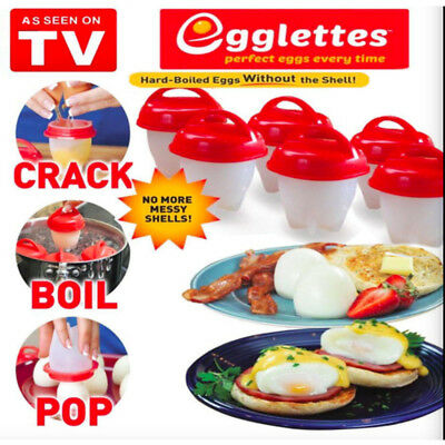 New TV Egglettes Egg Cooker Hard Boiled Eggs Food without the Shell 6 Egg Cups