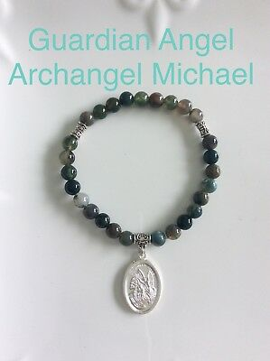Code 208 Empath Protection Archangel Michael Angel Indian Agate infused Bracelet