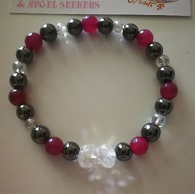 Code 652 Life Purpose Hematite Garnet Quartz Infused Bracelet Angel Therapy