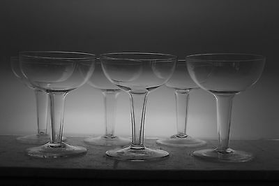 6 vintage Champagne Coupe Crystal Glasses Bubbly Hollow Stem c.1960's