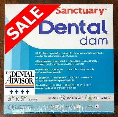 5 BOXES= 260 PCS Sanctuary Dental Rubber Dam Latex 5X5 Heavy SHEET 52/PK Blue