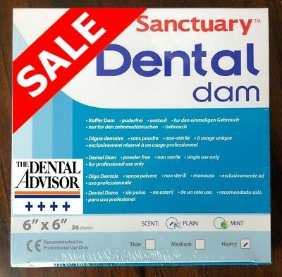 5 BOXES = 180 PCS Sanctuary Dental Rubber Dam Latex 6X6 SHEET Heavy Blue 36/PK