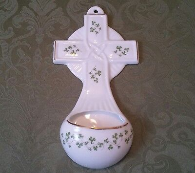 Royal Tara Fine Bone Galway China Celtic Cross Shamrock Holy Water W/ Sticker