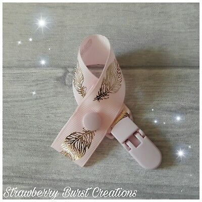 Dummy Clip Handmade Gold Foiled Feathers on Pastel Pink *MAM adapters available*