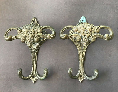PAIR Gorgeous Solid Brass Ornate COAT HAT HOOKS Old Vintage Highly Detailed