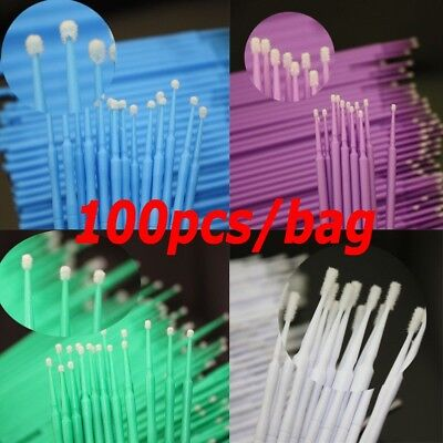 100 Pcs Micro Brush Disposable Microbrush Applicators Eyelash Extensions Swab ~~