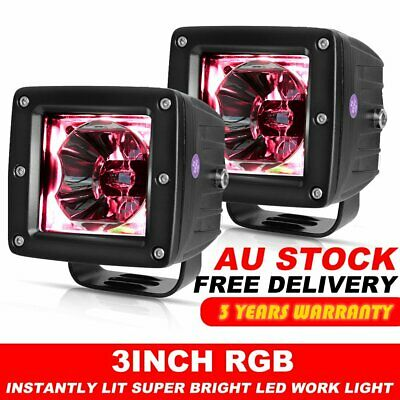"""Pair LED Work Light Spot Beam 3"""" inch Cube Pods Color Change Chasing RGB"""