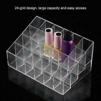 24 Grids Nail Polish Acrylic Clear Makeup Display Stand Rack Organizer Holder