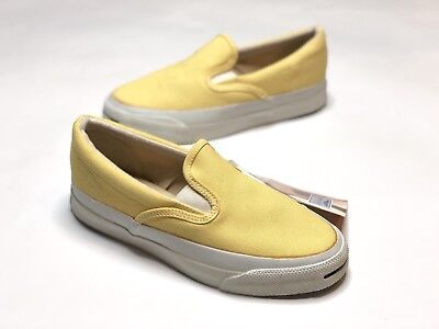 c5a403cc64b0 80 s Vintage Converse Jack Purcell Yellow Slip On Made in USA Size 4.5 NWT