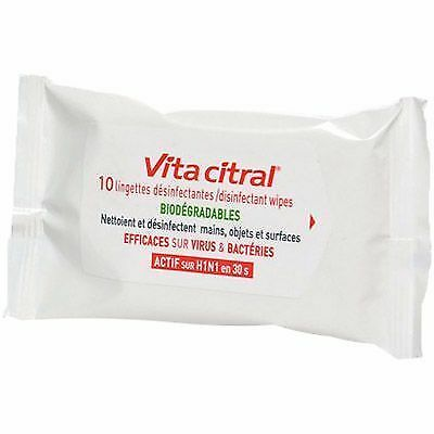 VITA CITRAL Lingettes Désinfectantes Biodégradables x10