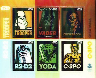 SPAIN 2017 MNH Star Wars,Cinema Issue,lenticular stamps,3D