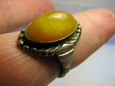 Baltic Amber !  Custom Made! Vintage Sterling Silver Ring  #520