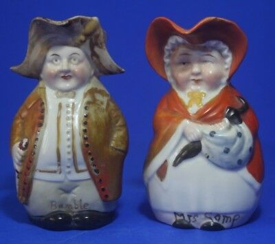 2 x Small Antique Toby Jugs, Mrs Gamp and Mr Bumble, Possibly German