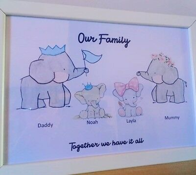 Personalised Cute A4 Family Elephant Print