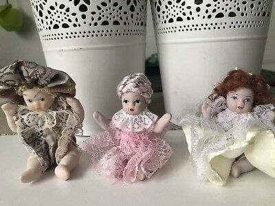 Lot Of 3 Vintage Small MINATURE PORCELAIN BISQUE DOLLS 7cm Tall