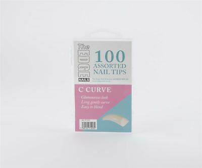 The Edge Grand 'C' Courbe 100 Embouts Tailles Assorties Mélange Acrylique Gel UV