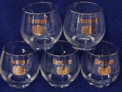 Vintage Lot of 5 Glenmore Whiskey Glasses 1960's