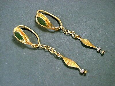 Greco-Roman Gold & Glass Earrings Tear Shape 200 Bc-100 Ad