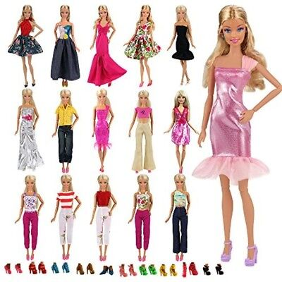 Barbie Clothes Doll Fashion Wear Clothing outfits Dress up Gown Shoes Lot 15 pcs