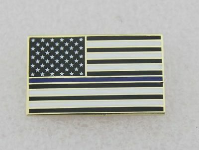 Thin Blue Line American Flag Police Support Blue Lives Matter Lapel Pin- golden