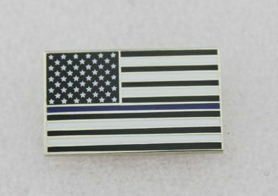 Thin Blue Line American Flag Police Support Blue Lives Matter Lapel Pin- silver