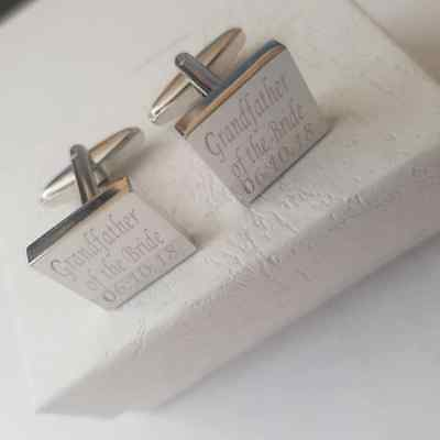 Silver Wedding Cufflinks Personalised With Your Own Date And Free Gift Box Mo1A