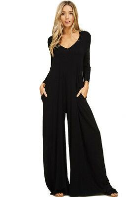 c9e4a915748a (Annabelle) Palazzo Harem Jumpsuit with Hoody - Side pockets Rayon Fabric  (Blk)