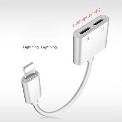 4in1 Lightning to Lightning Headphone Jack Splitter Adapter iPhone Xs Max XR 7 8