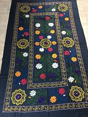Old Uzbek Antique Vintage 100% Original Embroidery Tablecloth Wallhanging Suzani
