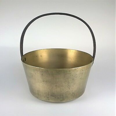 Vintage Heavy Brass Jam Maslin Preserving Pan Fixed Forged Steel Handle Planter
