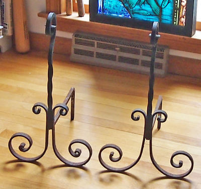 Wrought Iron Andirons Pair Set Antique Vintage Large Fireplace Dogs