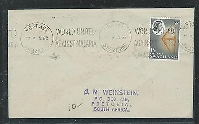 Swailand  (Pp2408B) 1962 Qeii 1C Cover World United Against Malaria Slogan